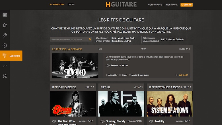La section riff et les playbacks de HGuitare
